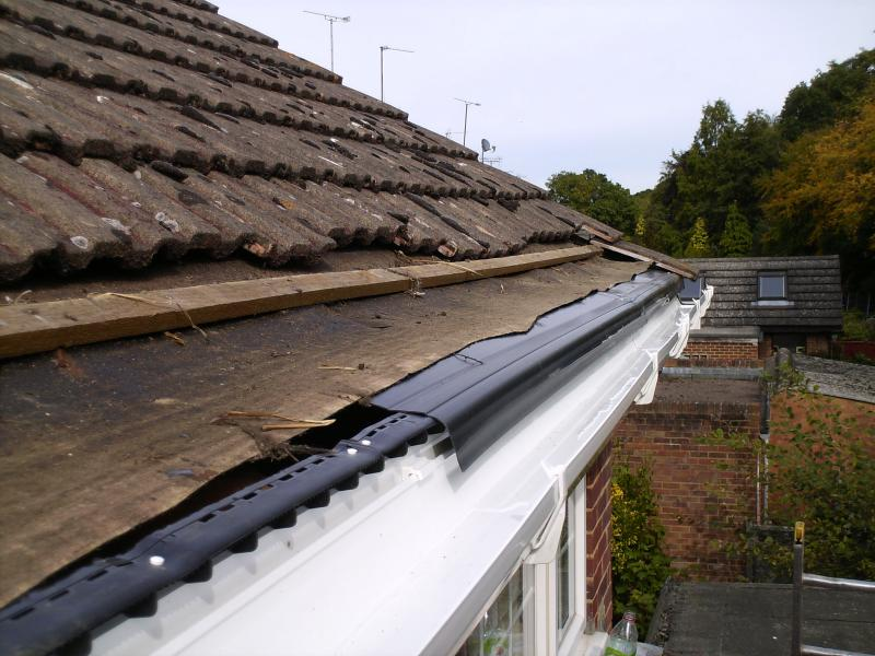 Rigid eaves felt and guttering installed